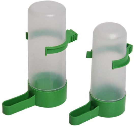 Patgoal 4 Pcs Pet Bird Plastic Drinker Feeder Waterer Clip for Parrots Budgie Cockatiel Lovebirds