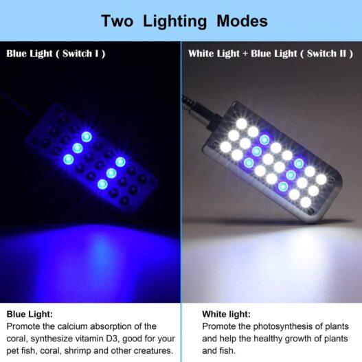 DaToo Aquarium Light Small LED Clip Light for Fish Tank, 1 Yr Warranty