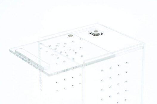 BioactiveFX 0.23 Gallon Magnetic Acrylic 3x3x6 Inch Mini Nano Tall Enclosure Reptile Terrarium Cage Tank Tarantula Scorpion Sling Isopods Lizards Invertebrates Insects Mantis Snake Gecko Frog
