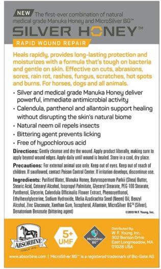 Absorbine Silver Honey Rapid Wound Repair Ointment, Manuka Honey & MicroSilver BG, Veterinarian Tested Horse & Animal Wound Care, 2oz Tube