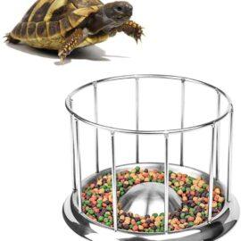 Wontee Tortoise Food Water Dish Feeder Bowl Stainless Steel Tray Dispenser for Lizard Turtle Chameleon Reptiles
