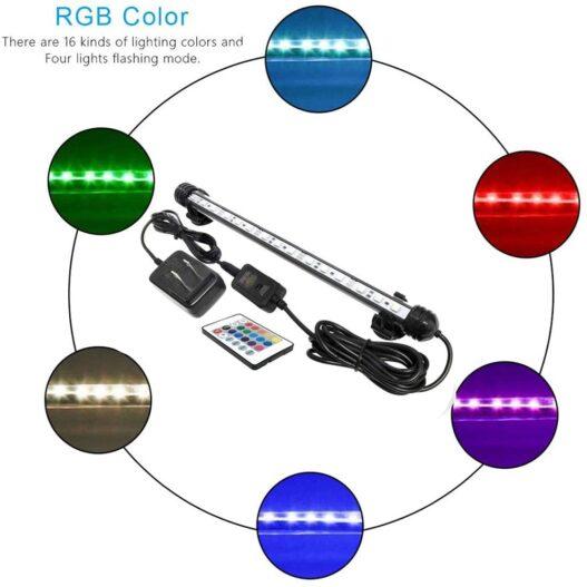 MingDak LED Aquarium Light, Wireless Remote Control Fish Tank Light,RGB Colored Changing,Brightness Adjustable,Underwater Submersible LED Light