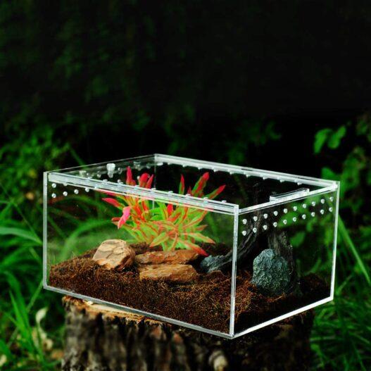 "MABELER Magnetic Acrylic Reptile Cage 4""x3.2""x2.4"" Nano Enclosure Transparent Reptile Breeding Box Terrarium Tank Tarantula Scorpion Sling Isopods Lizards Roach Invertebrates Insect Mantis"