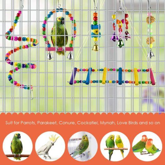 KATUMO 6 pcs Bird Parrot Toys, Bird Swing Toy Colorful Chewing Hanging Hammock Swing Bell Pet Climbing Ladders Toys Bird Toys for Parrots, Parakeet, Conure, Cockatiel, Mynah, Love Birds