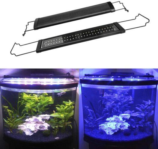 MingDak Full Spectrum LED Aquarium Light,Fish Tank Light with Aluminum Housing Extendable Brackets,White Blue Red Green LEDs for Freshwater Plants,18 to 24-inch,6500K
