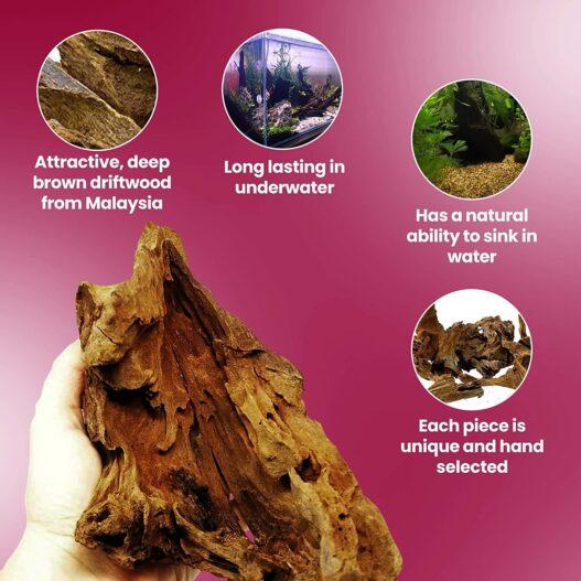 Dr. Moss Malaysian Driftwood for Aquarium Freshwater Aquascaping - Natural Driftwood for Reptiles Terrarium Tank, Gnarly Wood Bark Branch Fish Tank Decorations - Aquarium Drift Wood