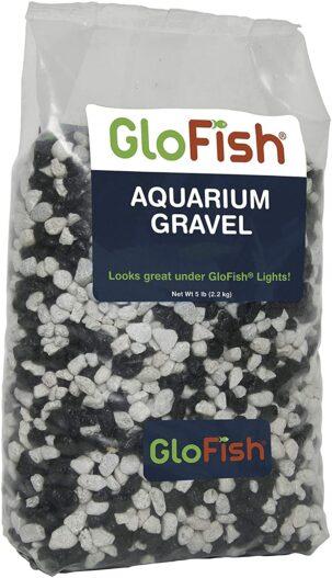 Glofish Aquarium Gravel, Black with White Fluorescent, 5-Pound Bag