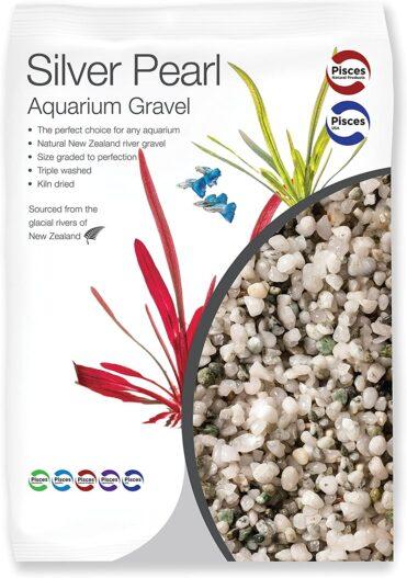 Pisces 11 lb Silver Pearl Aquarium Gravel, Medium (AM-SILVER010)